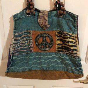 Peace sign purse, multi color